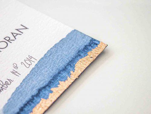 Partecipazioni di matrimonio blue e oro