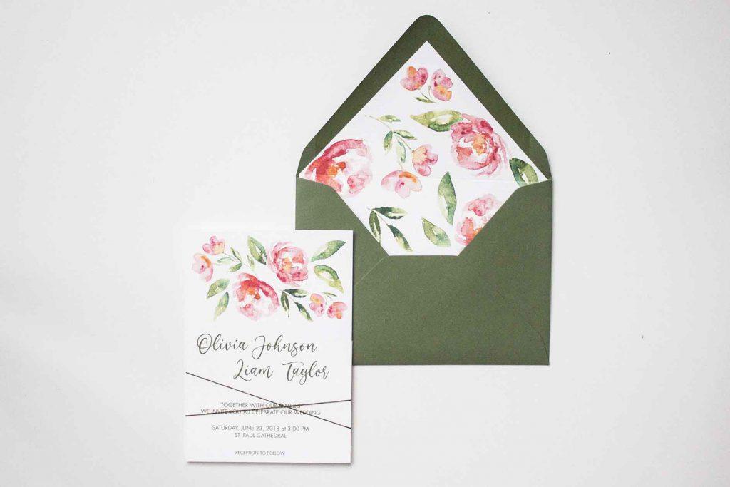 Partecipazioni di matrimonio peonia rosa