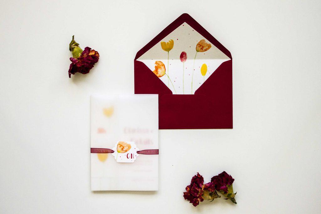 Partecipazioni di matrimonio con tulipani