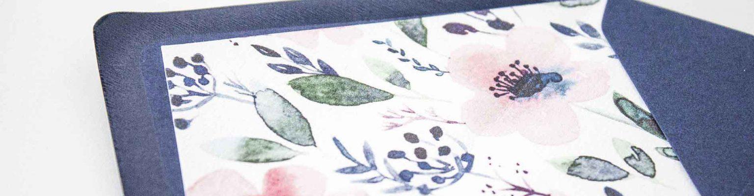 Partecipazioni di matrimonio fiori blu